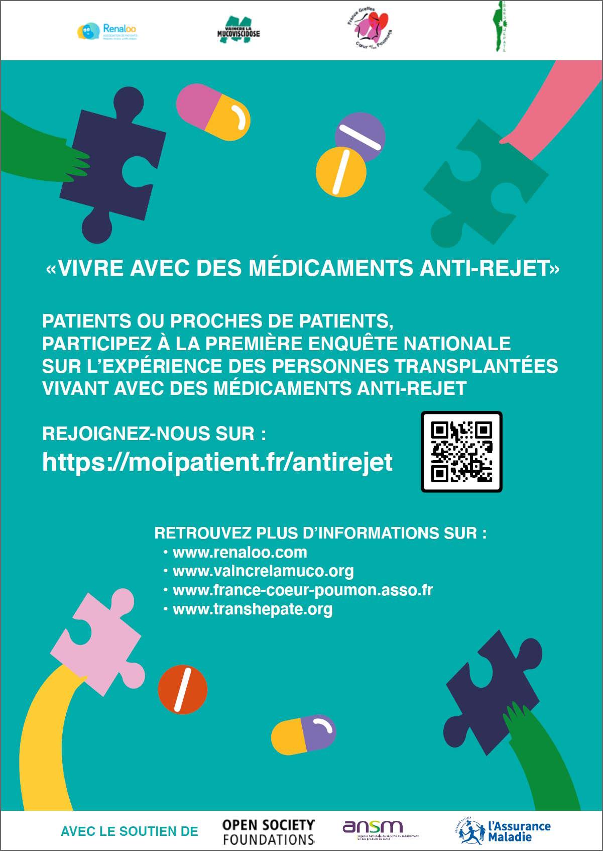 Grande enquête pour recueillir votre expérience sur la vie avec des médicaments anti-rejet